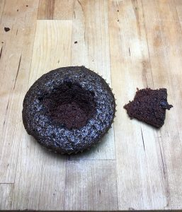 Chocolate cupcake on cutting board