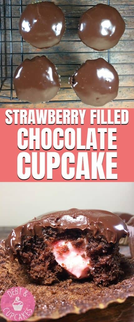 STRAWBERRY FILLED chocolate Cupcake